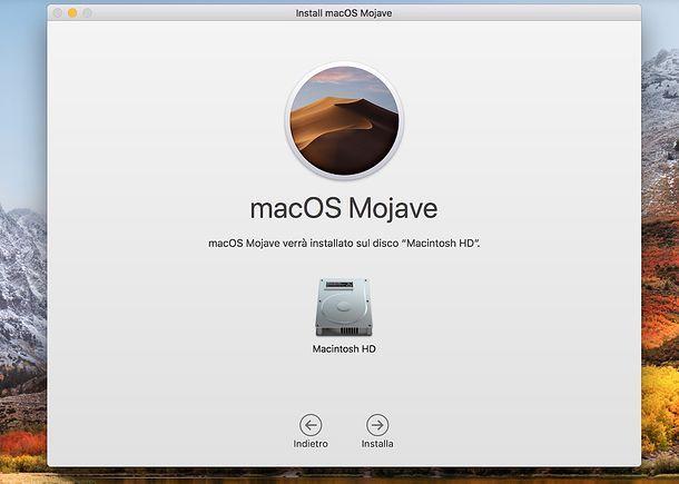 Installazione macOS Mojave