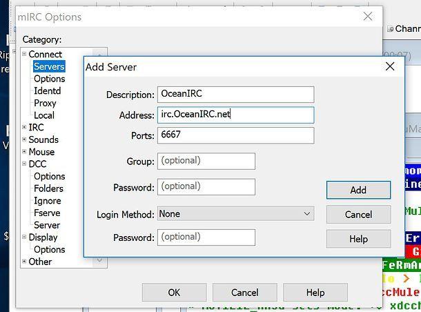 Come configurare server mIRC