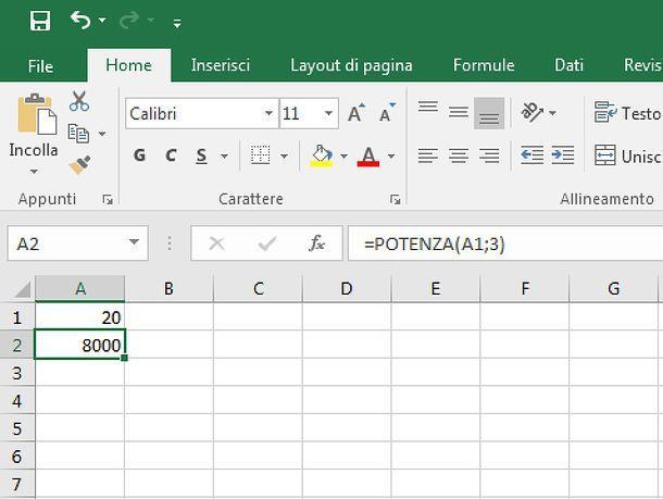 Come elevare a potenza in Excel