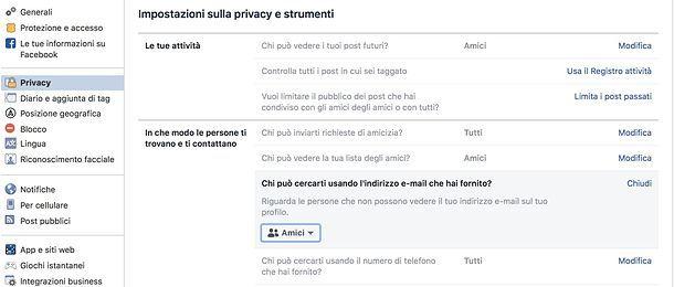Come nascondere email nelle ricerche di Facebook