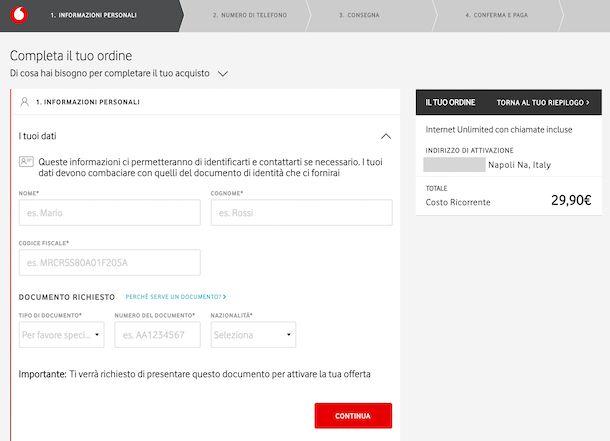 Attivazione Vodafone