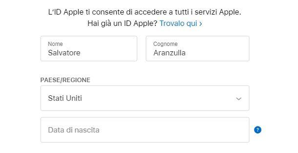 Registrare ID Apple estero Stati Uniti