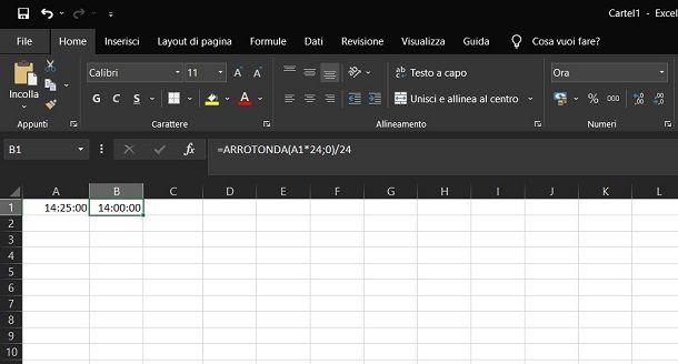 Arrotondare ora su Excel