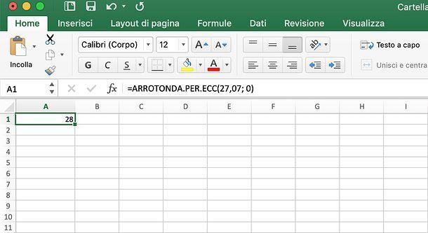 Come arrotondare in Excel per eccesso