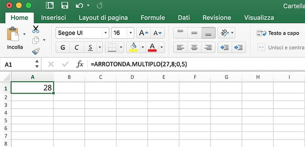 Come arrotondare in Excel per multiplo