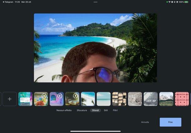 Personalizzare sfondo Meet