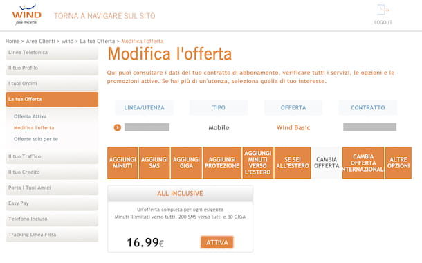 Area clienti Wind Web