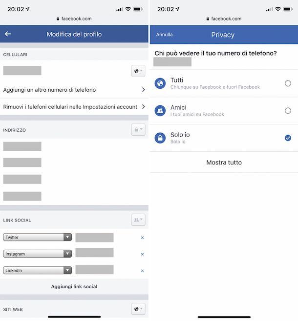 Come togliere il numero di telefono da Facebook