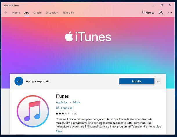 Installare iTunes Windows 10