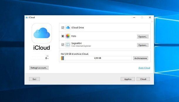 Archiviare su iCloud da PC Windows