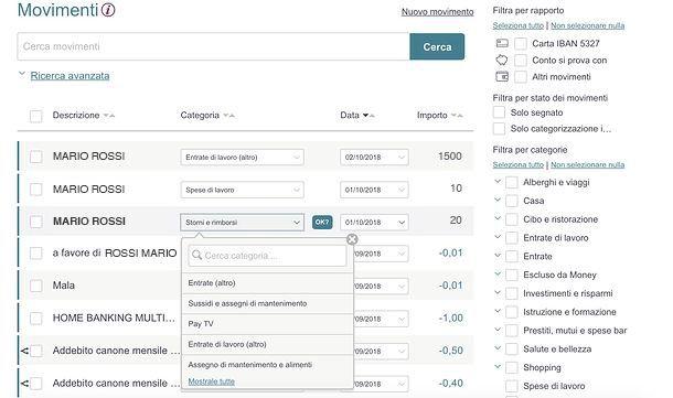 Categorizzazione movimenti Money di BPER Banca