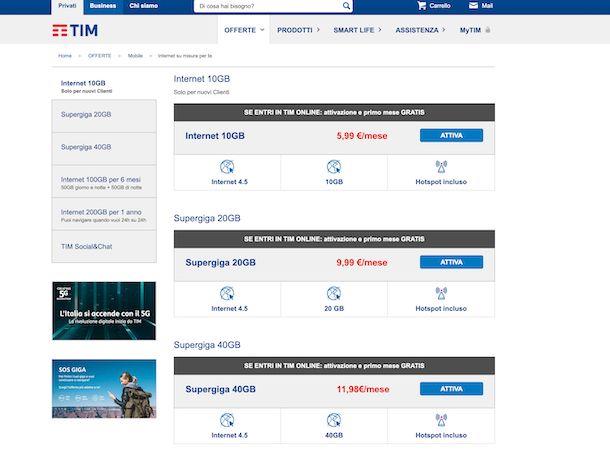 Offerte TIM Internet mobile