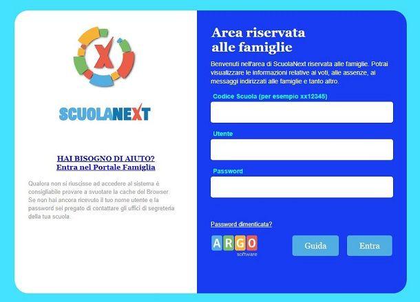 Argo ScuolaNext sito web