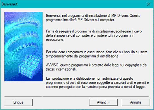 Screenshot installazione driver
