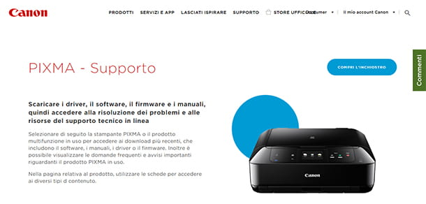 Screenshot pagina web supporto Canon