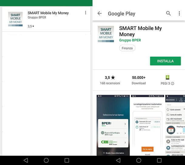 Installazione Smart Mobile My Money su Android