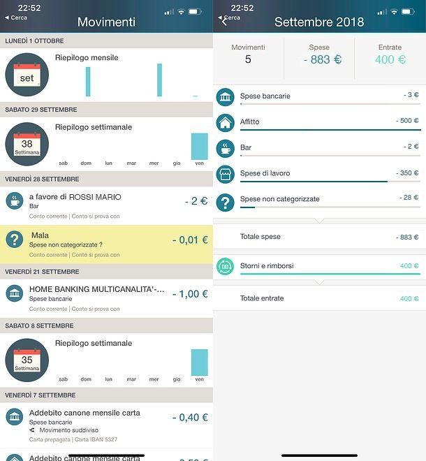 Bilanci in Smart Mobile My Money