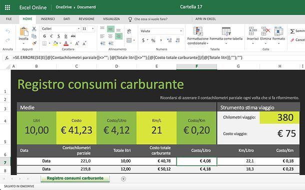 Come mostrare le formule su Excel online