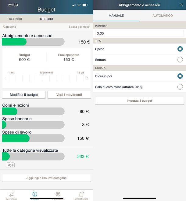 Limiti di budget in Smart Mobile My Money
