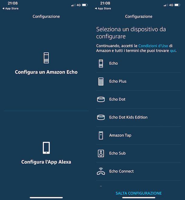 Configurazione iniziale Amazon Echo