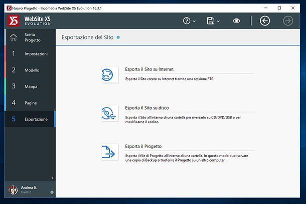 Esportazione del sito in WebSite X5