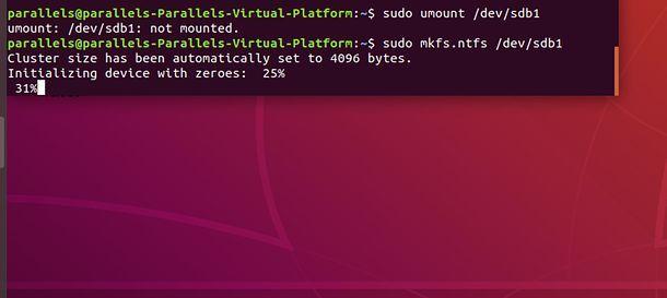 Come formattare una chiavetta USB con Ubuntu da Terminale