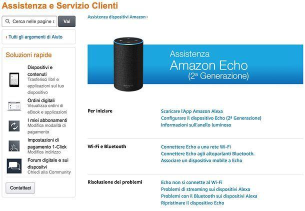 Assistenza Amazon Echo