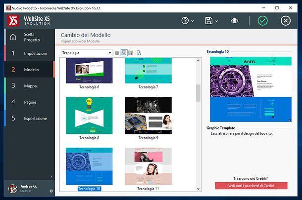 Cambio modello WebSite X5