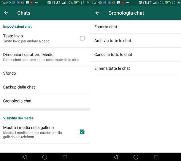 Cancellare messaggi WhatsApp Android
