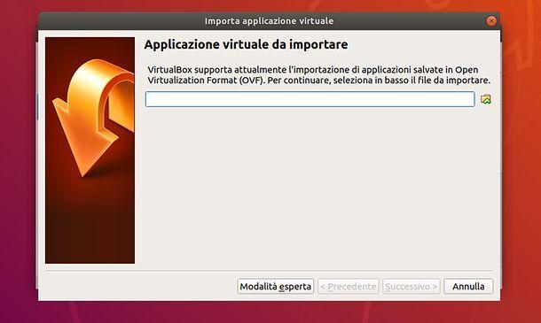 Importazione immagine in VirtualBox