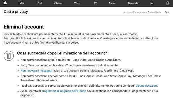 Come cancellare account iCloud