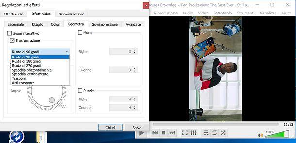 Come ruotare un video su YouTube con VLC