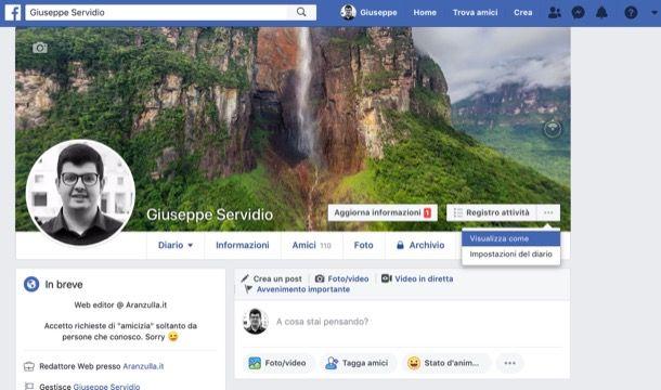 Funzione Vedi come di Facebook