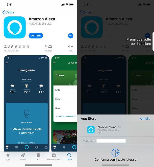 Installazione app Amazon Alexa
