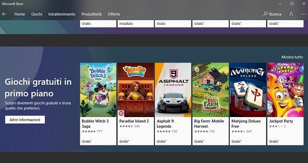 Microsoft Store giochi gratis PC