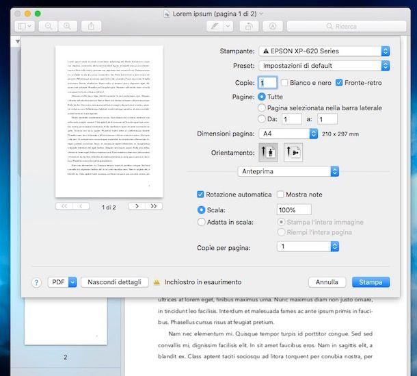 Come stampare da Mac