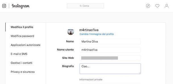 Come modificare profilo Instagram