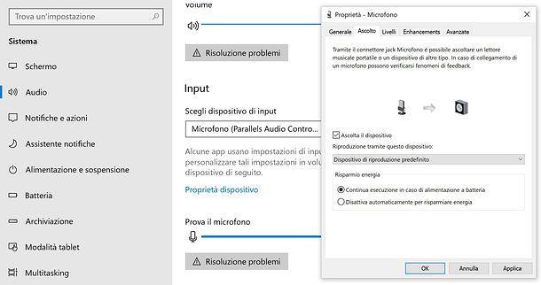 Come sentire il microfono nelle casse su Windows 10