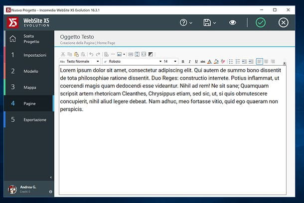 Editor testo WebSite X5