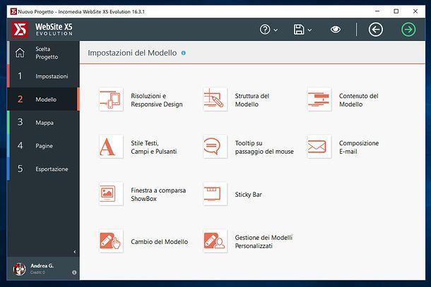 Modello WebSite X5