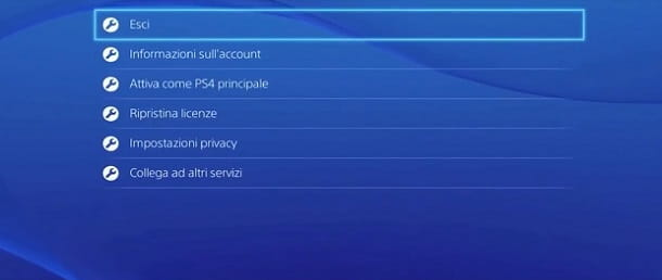 Uscita account PS4