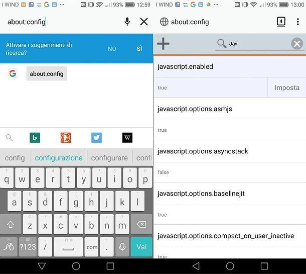 Come abilitare Javascript in Firefox per Android