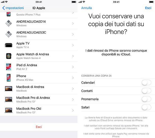 Come uscire da iCloud su iPhone