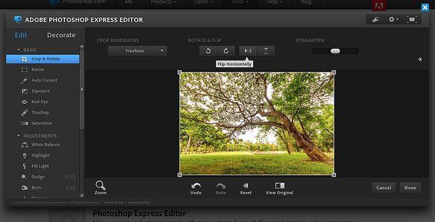 Come ribaltare una foto con Photoshop Online