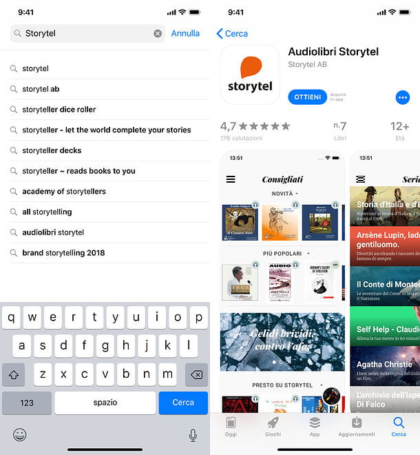 Installazione Storytel su iPhone