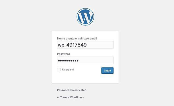 Accesso WordPress Aruba