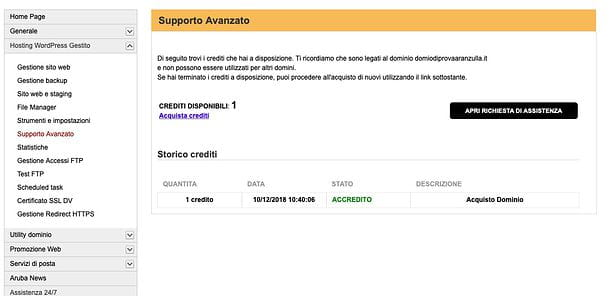 Supporto avanzato Hosting WordPress di Aruba