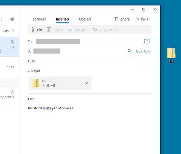 Come inviare una cartella via mail