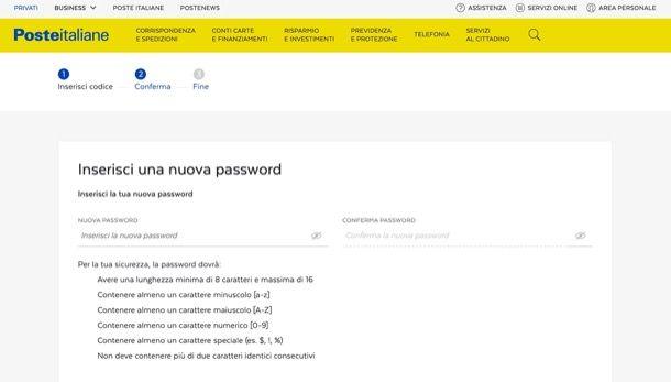 Recupera password Postepay