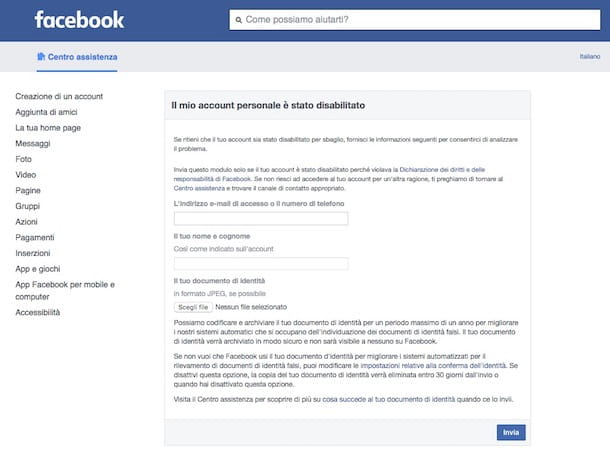 Come contattare Facebook per account bloccato